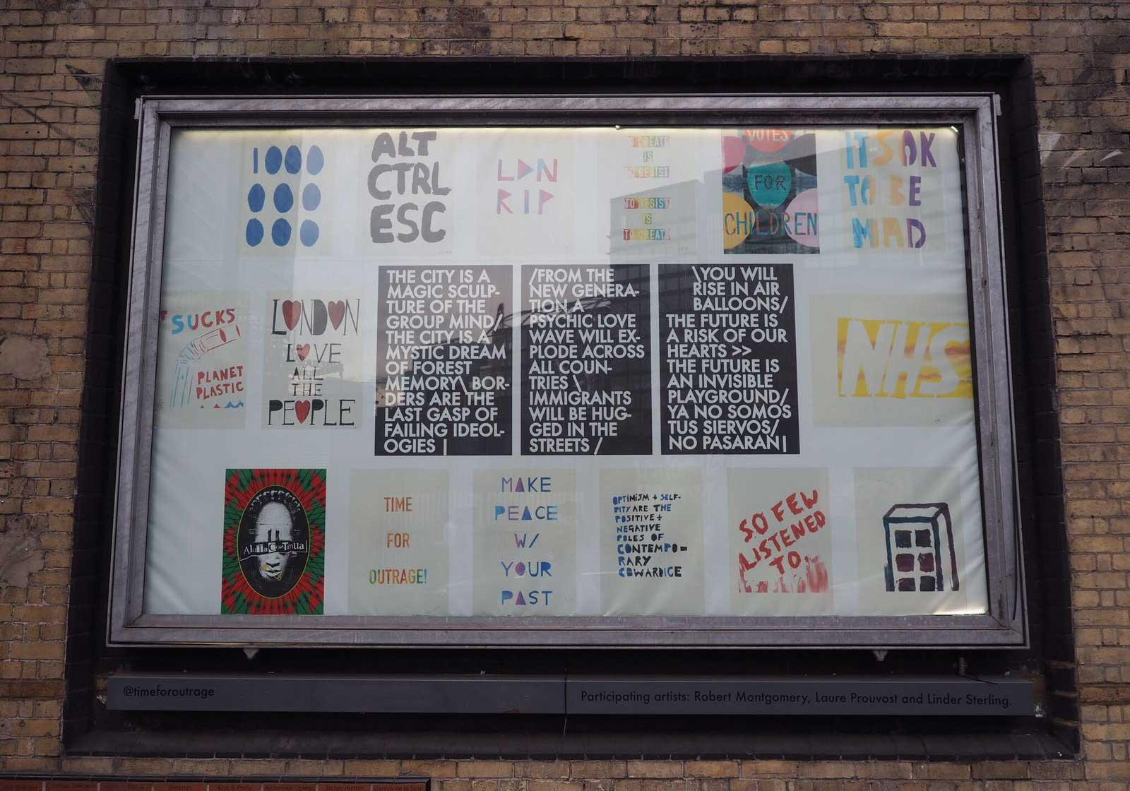 A mixed billboard with Robert Montgomery, John Isaacs and Kendell Geers by @Neel Creates